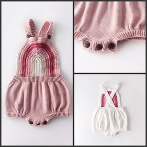 Baby Girls Romper Pink White Rainbow Knitted Autumn Spring Toddler Outfit Clothing 168 Y2