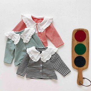 2021 Ins New T-shirts Spring Autumn Girls Stripe Shirts Tops Baby Clothing