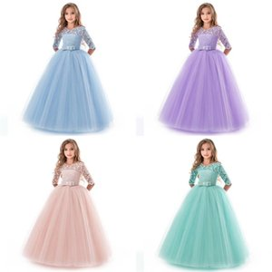 6-14 Years Flower Lace Dress Girls Clothes Princess Party Pageant Long Gown Kids Dresses for Girls Wedding Evening Clothing 85 Y2