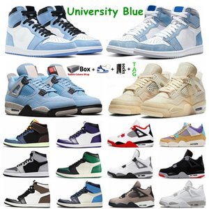 University Blue 1s Jumpman 1 Basketball Shoes Black Cat Bred 4 4s Hype Royal UNC Obsidian White Cement What The Sail Guava Ice Sports Mens Women Sneakers