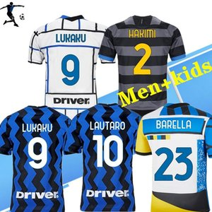 2021 2022 4ème barella Lukaku Lautaro Inter Accueil 3ème Jerseys de football Barella Maglia 20 21 Haut de football Hommes Boys Kids Kits Ensembles Uniformes