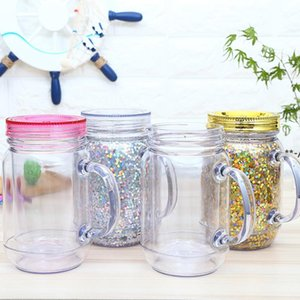 NEW16oz Plastic Mason jar Juice Beverage Drinking Tumbler with handle Mason cans 16oz double walled Plastic Cup with straw sea ship RRE9502
