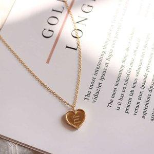 قلادة بسيطة وتنوع الخوخ القلب جولة الخرزة حافة الحب ثلاثة الأبعاد الإنجليزية رسالة قلادة التيتانيوم الصلب مجوهرات P655