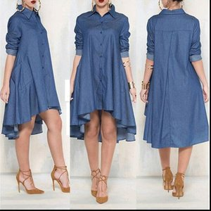 Women Casual Shirts Loose Long Sleeve Denim Jeans Blouse Sundress Short Mini Vestido Cocktail Party Clubwear Outfits Top