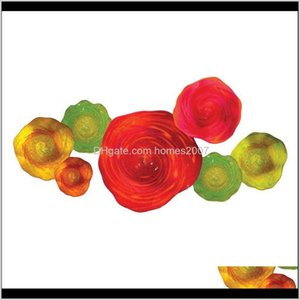 Lamp Deco El Supplies Home & Gardenglass Decor Murano Glass Paltes Blown Abstract Wall Art Lights Diameter 6 To 16 Inches Orange Yellow Green