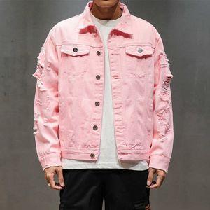 Nouveau plus taille 5XL rose noir déchiré denim jeans vestes hip hop streetwear trous occasionnel mode hommes femmes manteau solide
