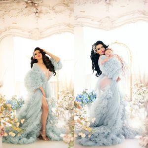 Pregnant Women Photograph Dresses Sleepwear Tiered Ruffles Long Sleeve Tulle Robe Gown Bathrobe Sleep Nightdress For Wedding Party
