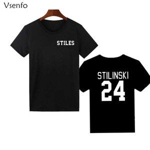 Vsenfo Genç Kurt Stiles Stilinski 24t-Shirt Erkek Kadın Tumblr Gömlek Pamuk Kısa Kollu Grafik Tişörtleri Streetwear T-shirt T200527