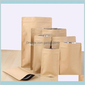 Bulk Food Storage Kitchen & Organization Housekeeping Home Garden 11 Sizes Zipper Brown Kraft Foil Bag Stand Up Paper Aluminium Pouch