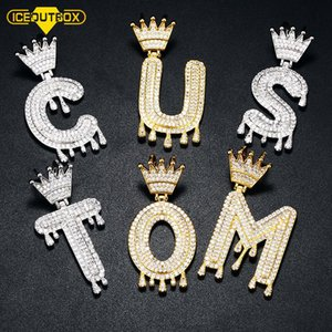 Crown Drip A-Z Single Initial Bubble Letter Name Letters Pendant For Women Men Cubic Zircon Iced Out Hip Hop Fashion Jewelry Necklaces