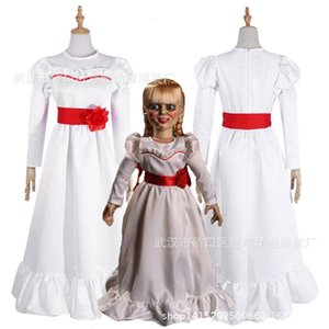 Women Child Kid Halloween Costumes ConjingDoll Annabelle White Dress Horror Scary Female Wear Cosplay Fancy Dress trajes de mascote