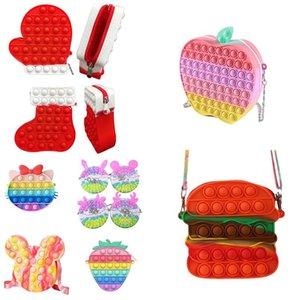 Sensory Toy Chain Shoulder Bag Fidget Bubble Coin Purse Pencil Case Phone Wallet Bags Fashion Decompression Storage Finger Toys DHL