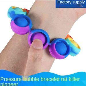 Rainbow Luminous Pioneer Children's Bracelet Toys Push Pop Fidget Decompression Bubble Toy Autism Stress Relief Sensory Wristband G54RSO3