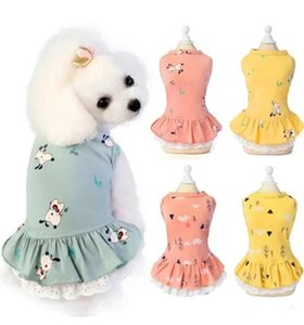 Cotton Cat Dog Apparel Dress Skirt Summer Printing Pets Clothes for Small Dogs Chihuahua Wedding Dresses Puppy Clothing