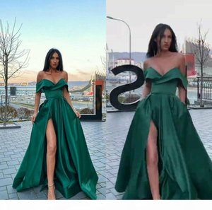 Elegant Green A-line Evening Dresses Sweetheart Sleeveless High-split Party Gown Satin Cheap Floor-length Formal Prom Dress Custom Made