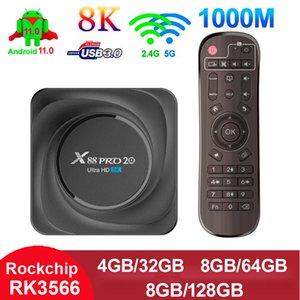 RK3566 TV Box 8GB 128GB Android 11.0 Quad Core TVbox X88 PRO 20 8K HD 2.4G 5G Dual Wifi Smart Media Player 4GB 32GB Bluetooth 4.2 4G32G Boxes