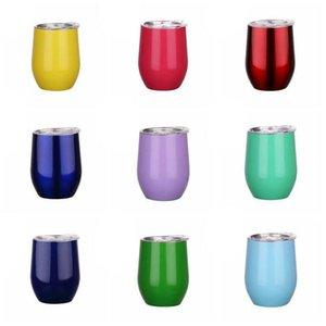 12oz Mugs Stainless Steel Tumbler With Lid Egg Shape Cup Wine Glasses Vacuum Water Bottle Drinkware ZWL243