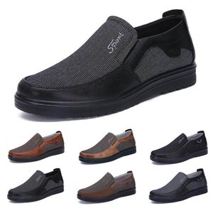 Fashion Business style mens shoes comfortable breathable black brown dark navy chocolate dlive soft flats bottoms men casual walking sneakers 38-44