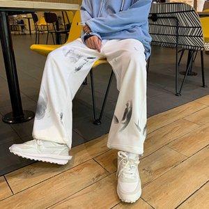 Мужские повседневные штаны личности личности галстуки свободно широко-ноги брюки закрытый дизайн открытый ежедневный универсальный удобный простой тренд молодежный спорт