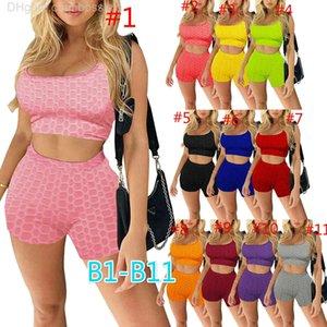 Summer Femmes Tracksuit 2 PCS T-shirt à manches courtes T-shirt Sexy Short Set Sportswear Jogger Costumes Couleur Solid Color Gym Vêtements Plus Taille A009