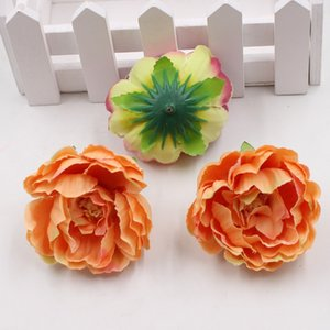 100pcs 5cm Cheap Artificial Silk Peony Flower Heads For Wedding Home Decoration DIY Corsage Wreath Craft Fall Vivid Fake Flowers 517 V2