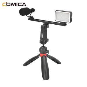 Selfie Monopods Comica CVM-VM10-K5 Smartphone Video Kit With LED Light Cardioid Sgun Microphone Tripod Multifunction Vlog For Phones