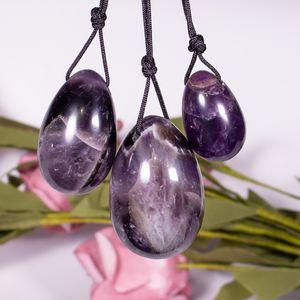 3 pcs lot Yoni Egg 100% Natural Stone Healing Jade Crystal Egg Drill 45*30 MM Mineral Ball Kegel Massage Pelvic Floor Muscle Vaginal massage egg
