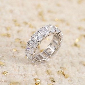 S925 silver punk band ring with oval rectangle shape design diamond for women wedding jewelry gift PS4198