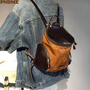 Backpack Style PNDME Vintage Luxury Genuine Leather Women's Small Fashion Designer Natural Real Cowhide Weekend Daily Cute School Bag