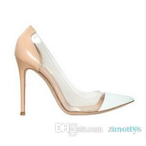WholesaleSame to Gianvito Rossi 2017 Latest Fashion Women High Heels Exclusive leather and PVC Pointed Toe Pumps dress shoes