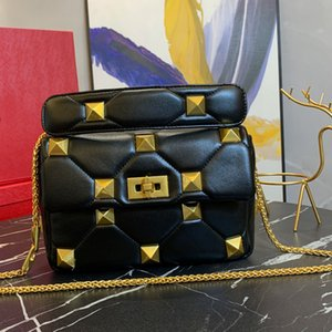 Lady Sheepskin Cuero Cadena Bolsa Flap Messagner Handbag Calidad Monedero de hombro RiveTretretro Cremallera Pocket Color Quilting Proceso