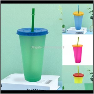Water Bottle Circle Color Changing Cup Clear Plastic With Lid Tumbler Reusable St Coffee Mugs Temperature Sensing Fashion Outdoor 5Hb Kjucm
