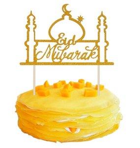 Festival Decoration Paper Ramadan Moon Muslim Glitter Mubarak 1pcs Eid Mubarak Cake Topper Cupcake Flags Islamic Gold DIY Star 545 V2