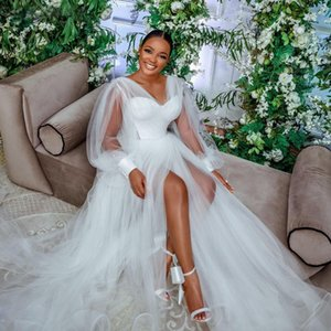 White Illusion Tulle Sleepwear Long Sleeve Bridal Wrap Sexy Kimono Pregnant Party Women Bathrobe Sheer Nightgown Robe