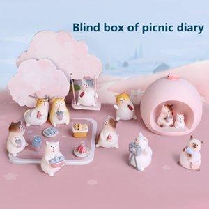 Cartoon cute blind box Mini desktop ornaments Resin crafts Birthday party presents Toy Handmade Model