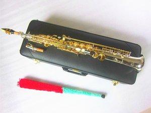 YANAGISAWA W037 Soprano Saxophone Brass Silver nickel Plated Tube Gold Key Sax With Mouthpiece Reeds Bend Neck and Hard box