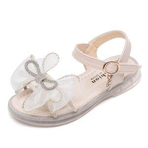 Girls Sandals Kids Shoes Baby Girl Children shoe Summer Leather Lace Bowknot Rhinestone Fashion Princess B5188