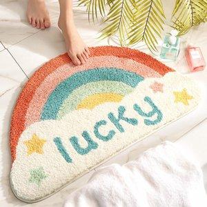 Novedad linda semicírculo arco iris alfombra de arco iris flocking piso absorbente antideslizante baño alfombra alfombra 45x75cm alfombrillas de pies alfombras