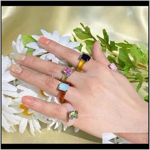 Cluster Drop Delivery 2021 Acrylic Diamond Rings Vintage Plastic Resin Colorful Index Finger Jewelry Fashion Unique Square Gem Ring Figure Wq