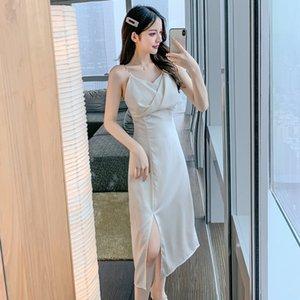 niche 2021 French suspender dress with side split, high waist and thin bottchic skirt 4653