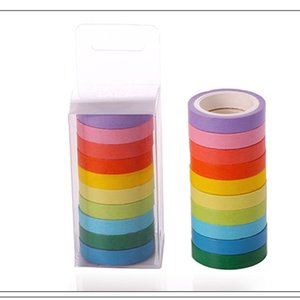 Candy Colors Rainbow Adhesive Tape DIY Hand Account Tools 10 Rolls Box Colourful Paper Adhesives Tapes Home Decoration Sticker BH 2016.5066