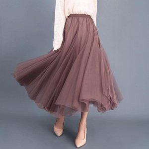 Skirts Fall Winter Tulle Petticoat Ankle-length High Waist Slim Fit Fairy Mesh Skirt Black Elegant For Women Party One Size