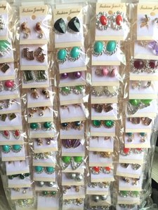 wholesale 50 Pairs fashion assorted Mix charm girls women earrings stud clip jewelry drop rheinstone lady punk