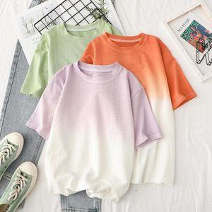 Summer Plain Short Sleeve T-shirts Women Casual O Neck Simple Loose Gradient All Match Tshirts Female Outwear Top Tees Women's T-Shirt