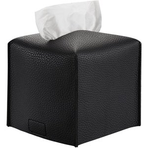 Tissue Boxes & Napkins Box Cover, Decorative Leather Square Holder For Bathroom Vanity Countertops, Desk, El, Restaurant