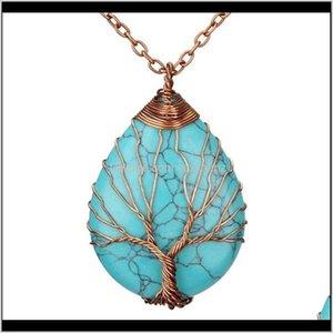 Rock Natürlicher Quarz Opal Stein Anhänger Rose Gold Farbe Handgemachte Baum des Lebens Wickelte Tropfenförmige Kristall Anhänger Qylkaf Hsltu FGB6E