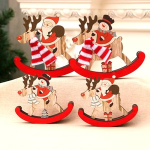 Christmas Decorations Christmas Wooden Rocking Horse Santa Claus Xmas Gifts Kid Toys Home Ornaments w-01168