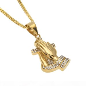 New Mens Hip hop Parying Hands Cross Pendant Iced Out Rhinestone Stainless Steel Gold Color Pendant Necklace Chain Punk Jewelry