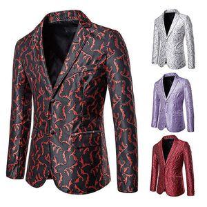 Trajes para hombres Blazers otoño e invierno moda casual color bordado traje abrigo