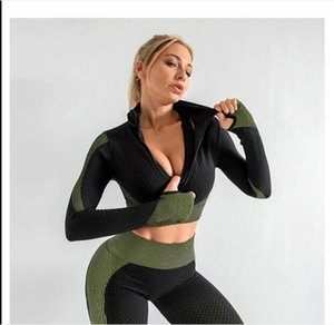 Women's Tracksuits lulu Yoga clothes 3pcs Seamless Patchwork Gym Tights Leggings High Waist Fitness Clothing Running Pants Sportswear Training